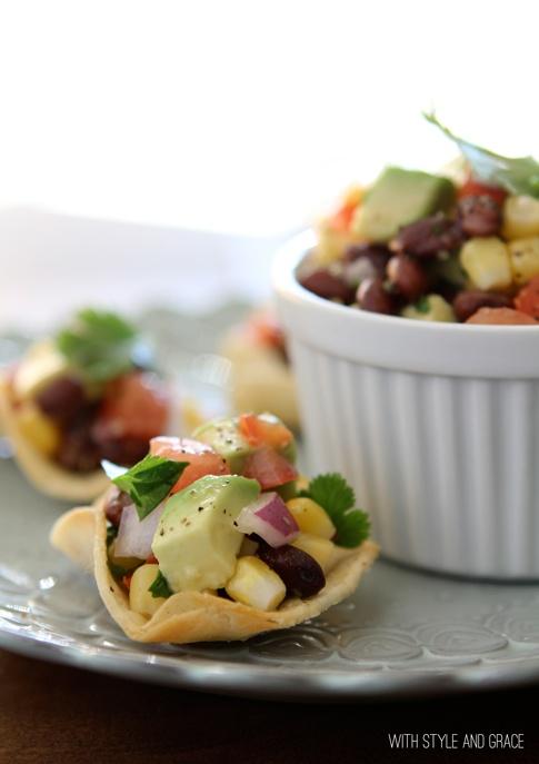 black bean, corn & avocado salsa in homemade tortilla cups...
