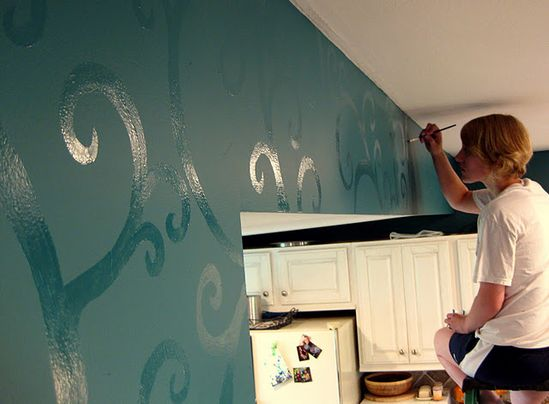 Paint the wall in flat color then use the same color but in high gloss for the design