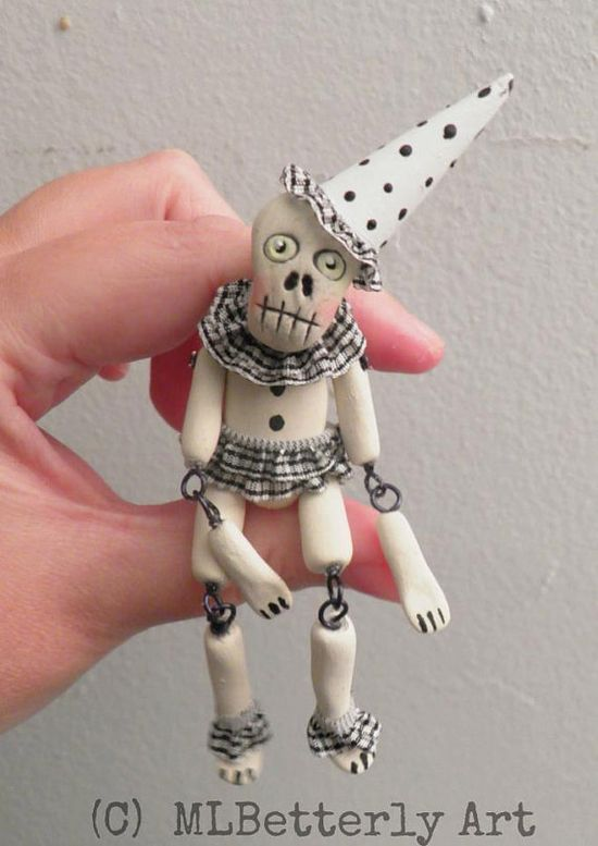 Miniature Ceramic Jointed Skelly Doll by mlbetterlyart on Etsy, $50.00