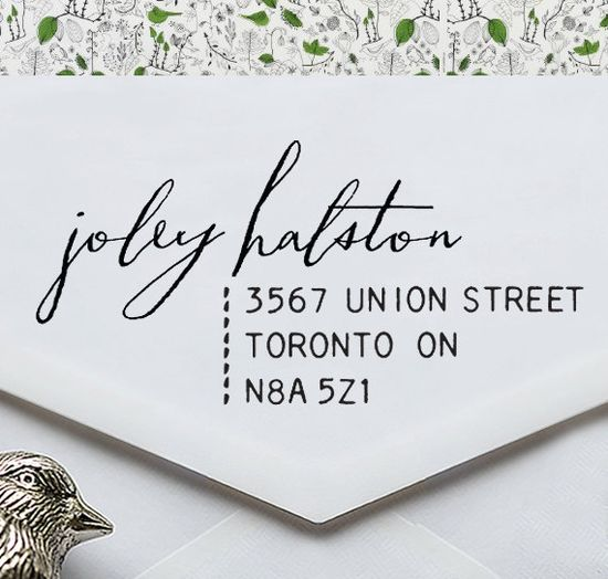 Calligraphy Address Stamp  Eco Stamp  wedding personal by foryoo