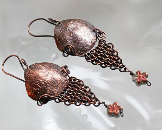 Embossed Copper and Chainmaille Earrings by pbenson4 on Etsy, $40.00