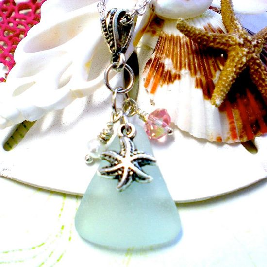 Sea Glass Starfish Necklace by SurfSeaGlass on Etsy, $30.00