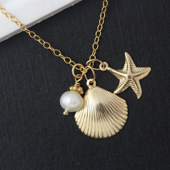 Starfish 16k Gold Necklace . Personalized Bridesmaid Necklace . Gold Seashell Necklace - Bridesmaid Jewelry