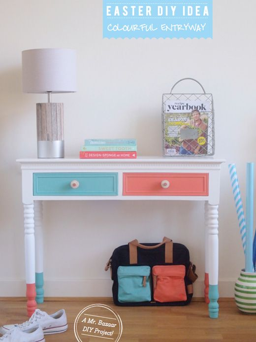 Entryway Makeover: Dipped Furniture Legs DIY