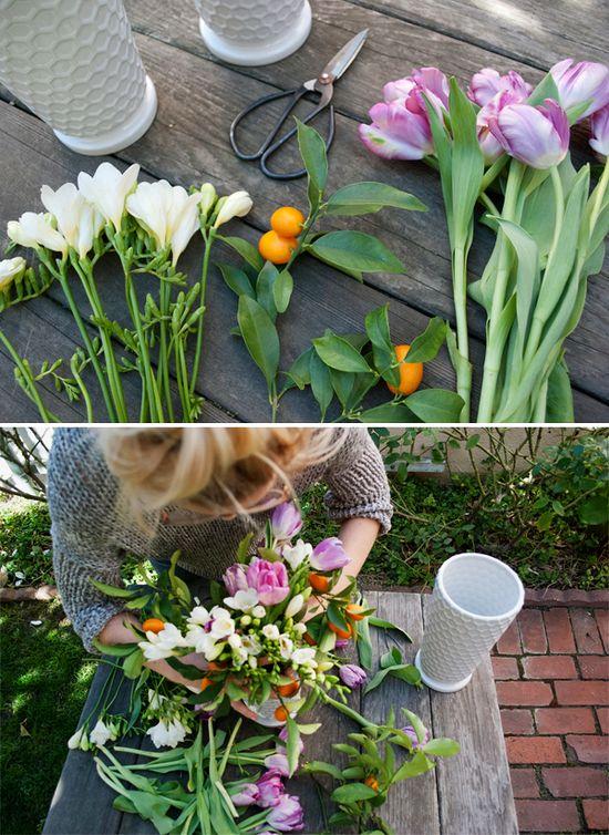Spring Flower Arrangement DIY: White Honeycomb Vase with White fresia