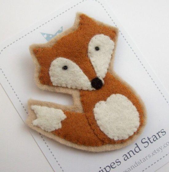 Cute Felt Fox Brooch. $8.00, via Etsy.