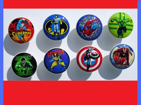 8 Superhero  super hero , on white knob   Dresser Drawer Knob. $23.00, via Etsy.