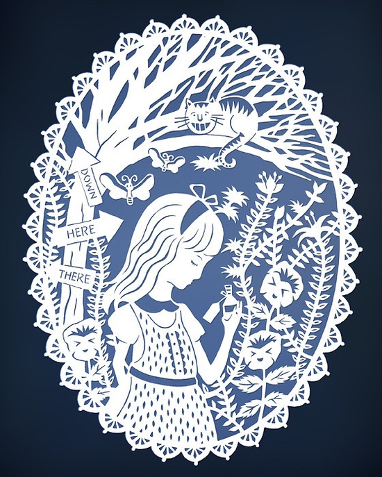 Alice in Wonderland - Papercut Illustration - Cheshire Cat in Tulgey Wood by SarahTrumbauer on etsy