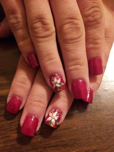 Nail Art Gallery - Red nails with pink flower