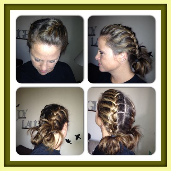 Double French braid into messy ponies.