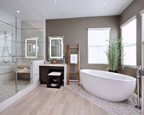 Modern Bathroom Design Ideas different flooring under bath