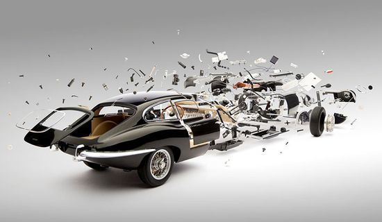 Swiss artist Fabian Oefner created these meticulously handcrafted images ofclassic sports cars, exploded, dissembled and dismantled in space. 1961 Jaguar E-type.