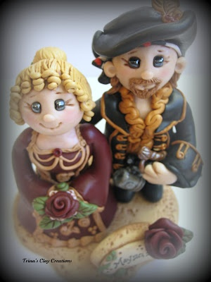 Pirate and Renaissance Wedding Cake Topper by Trina's Clay Creations ~ polymer clay