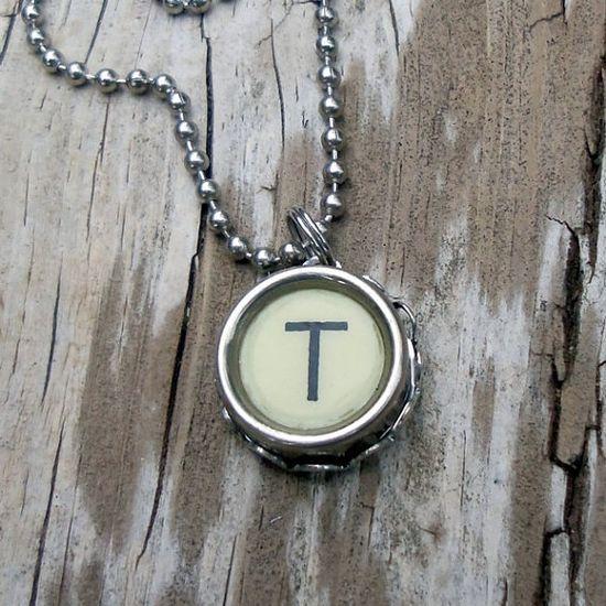 Vintage typewriter key pendant. Etsy
