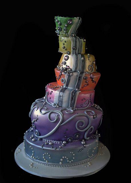Topsy turvy multi-coloured cake. creative cake art wedding cakes 890060 katherine cake by www.creativecakea..., via Flickr