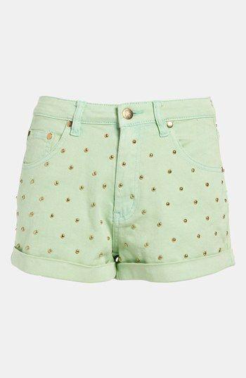 high waist studded shorts.