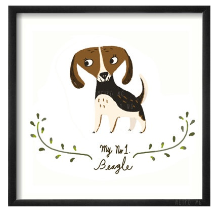 Beagle, Dog, Square print, art for room decor by neikoart on Etsy