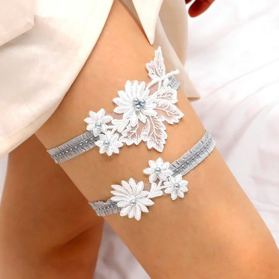 Lacy I garter  white floral lace applique with blue by woomipyo, $48.00