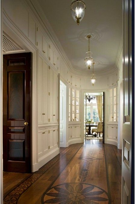 Design Chic - what a gorgeous hallway - love the pendant lighting and the amazing floors!