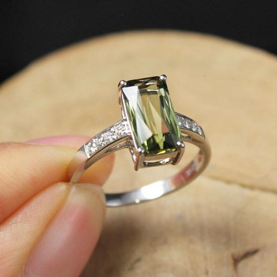 1.7 Carat Green Tourmaline Engagement Ring, Diamonds, 14K White Gold.