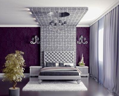 Modern Style bedroom design in purple