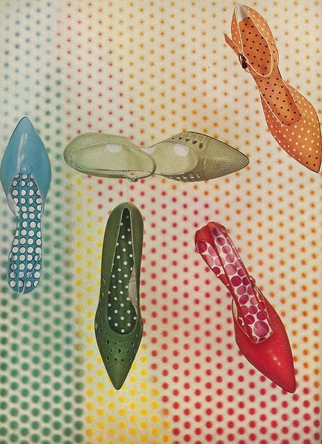 Bright - but very wearable - pointy toed shoes from the February 1959 edition of Vogue magazine. #vintage #shoes #1950s #retro #fashion