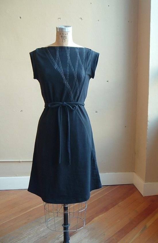 Black cotton jersey dress