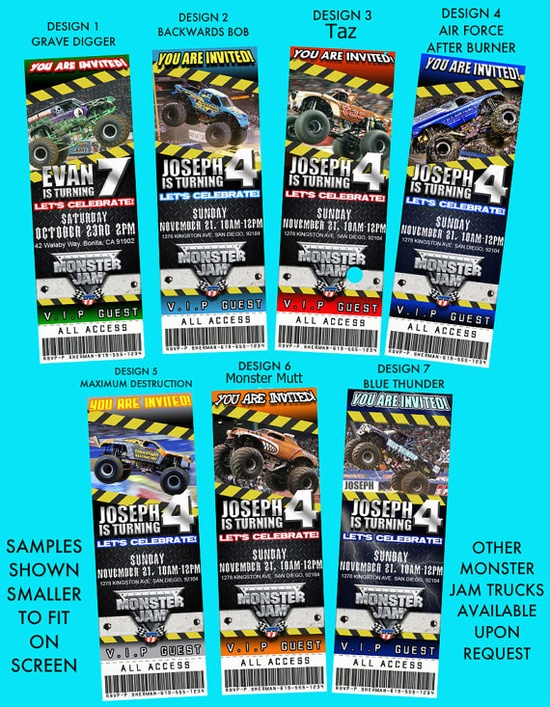 Monster Jam Truck Theme Personalized Birthday by partyprintsplus, $11.99_ i have to have for madox's party