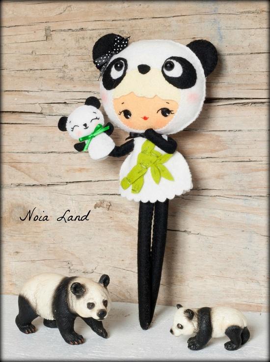 Panda bear girl with puppet doll pattern ~ Noialand