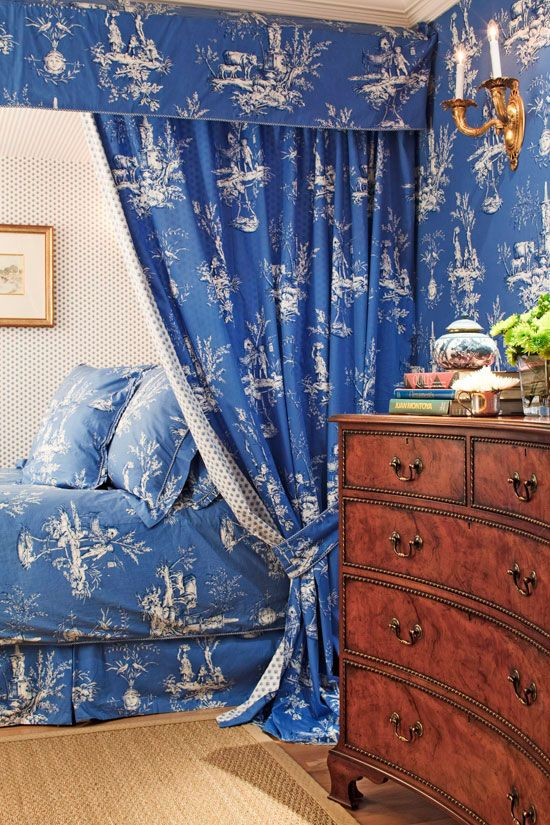 Note the ceiling and how the bed curtains are hung--nifty idea  Bedroom Decorating Ideas: Totally Toile - Traditional Home®