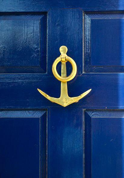 Marine blue door with anchor door knocker