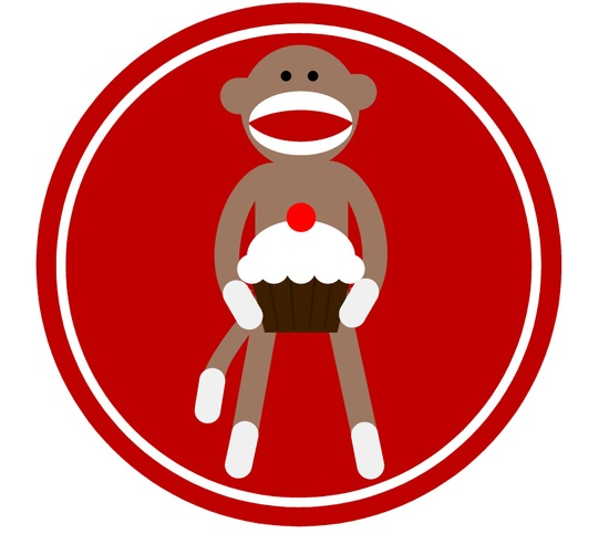 sock monkey cupcake