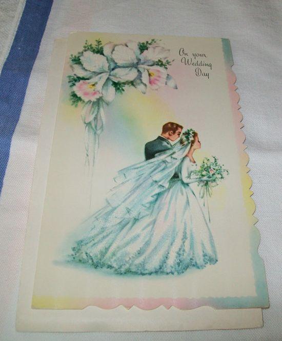 Love vintage cards!!!    Vintage wedding card unused greeting card 1960s by BlueSkyLane, $2.49