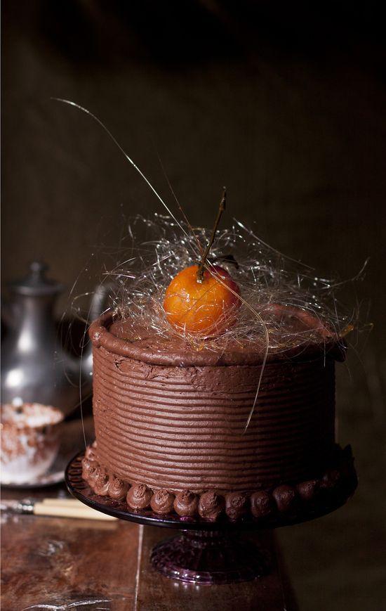 Glazed tangerines & chocolate cake