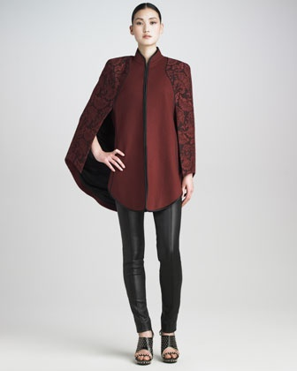 Lace-Overlay Cape & Stretch-Leather Stovepipe Pants by Jason Wu at Neiman Marcus. #NMFallTrends
