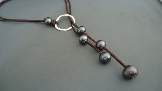 Leather and Black  Pearls Hammered Sterling Silver by iseadesigns, $47.99