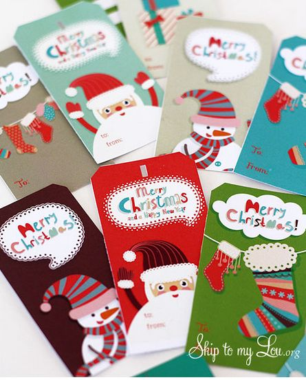 Free printable Christmas gift tags for kids (or the young art heart at Skip to My Lou. How cute are these Santas!