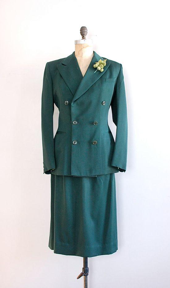 1940s suit / gabardine vintage 40s suit / Handmacher suit