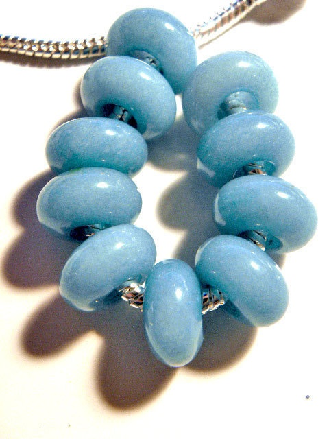 European beads Baby Blue Jade gemstone by CookalasHouseOfCards, $3.00