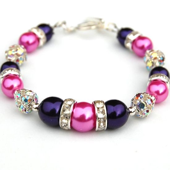Royal Purple & Hot Pink Bling Bracelet