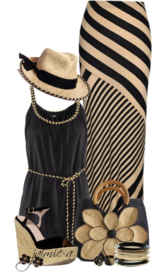 """Striped Maxi Skirt & Mar Y Sol Flower Satchel"" by jaimie-a on Polyvore"