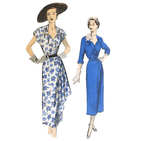 1950s Asymmetrical Draped Dress Pattern Bust by VtgSewingPatterns, $55.00