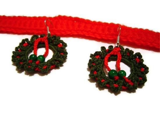 Crochet Earrings Christmas Jewelry Christmas Wreath by BMaja, $23.00