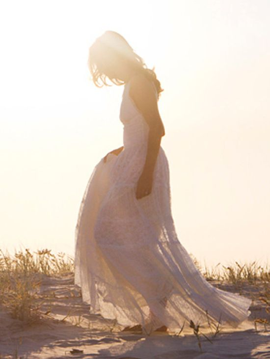 Beach boho lace wedding dress, stunning fitted lace torso and cups with magical layered skirt