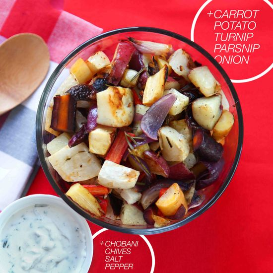 Roasted Root Vegetables with a tasty CHO Herb Sauce