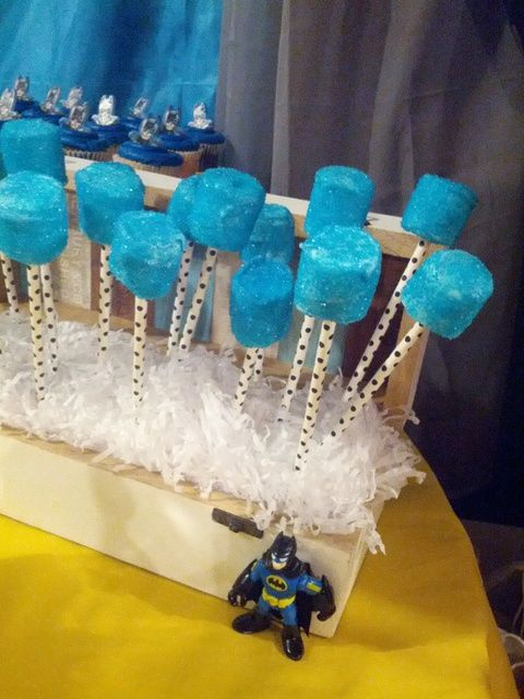 Cool blue marshmallow pops at a Batman birthday!    See more party ideas at CatchMyParty.com!  #superhero #partyideas