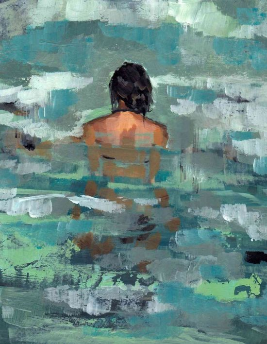 Undertow . large giclee digital art print poster of painting of woman in the ocean. $65.00, via Etsy.