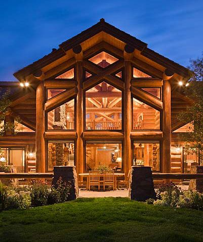 i love log cabins, rustic on the outside, but modern on the inside