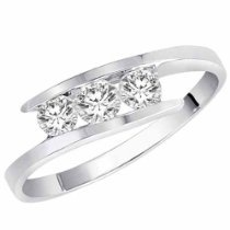 14K Gold 3 Stone Channel Set Round Diamond Ring (1/2 cttw, H-I, SI)