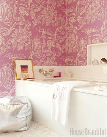 A Pink Bathroom I don't usually like wallpaper in the bathroom but I like this!